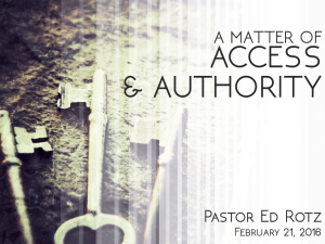 02-21-16 A Matter of Access And Authority - Ed Rotz